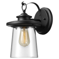 "Valmont 13"" 1-Light Black Outdoor Wall Sconce with Clear Glass Shade"