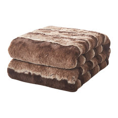 "Tache Golden Faux Fur Sherpa Throw Blanket, 50""x60"""
