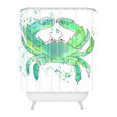 Laura Trevey Seafoam Green Crab Shower Curtain