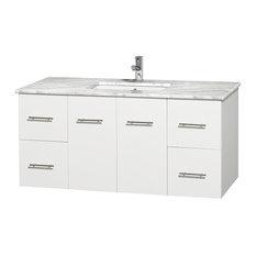 "Centra 48"" Single Vanity, White, Countertop, Undermount Square Sink, No Mirror"
