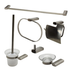 Alfi Brand 6 Piece Modern Bathroom Accessory Set, Brushed Nickel