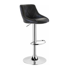 Modern Swivel Bar Stool Upholstered, Faux Leather With Chromed Footrest, Black