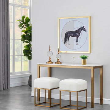 Avalon Gold and White Marble Top Console Table