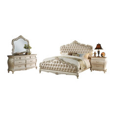 Chantelle 4-Piece Bedroom Set, Gold and White, Eastern King