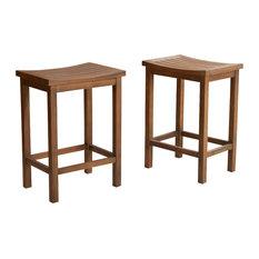 GDFStudio - Lantana Counter Stools, Set of 2, Brown Mahogany - Bar Stools And