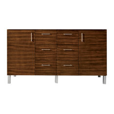 "Metropolitan 60"" Double Vanity American Walnut, Base Cabinet Only"