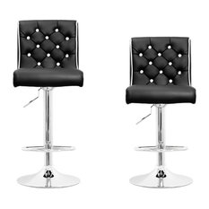 """Furniture Import & Export Inc. - Modern Swivel Bar Stool With Crystals and """"Tufted"""" Look, Set of 2, Black - Bar Stools and Counter Stools"""