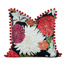 "Asian Floral Pillow Cover, Tribal Red Floral Lumbar, 20""x20"""