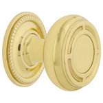 """Nostalgic Warehouse - Mission Brass 1 3/8"""" Cabinet Knob With Rope Rose, Polished Brass - The recognizable square designs on the Mission cabinet knob, paired with the Rope cabinet rosette  recalls design styles of decades past."""