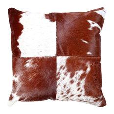 """Brikk - Brown Cowhide Cushion, 20""""x20"""" - Decorative Pillows"""