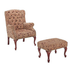 Coaster   Coaster Queen Anne Button Tufted Wing Accent Chair With Ottoman    Armchairs And Accent