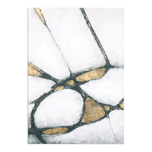 "Uttermost ""Abstract Cracks"" Art, Gold and Black, 42""x60"""