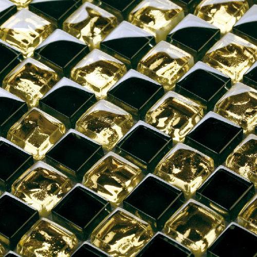Black Gold Glass Wave Tiles Backsplash Mosaic Decor
