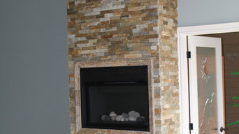 Fireplace with natural stone