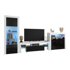 Milano Set 160-BK-2D Modern Wall Unit Entertainment Center White/Black