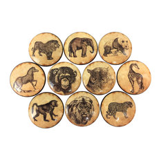 8 Piece Set Vintage Safari Animals Cabinet Knobs