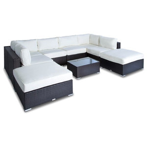 Outdoor Sofa All Weather Wicker Sectional 7 Piece Resin Couch Set
