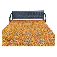 Mogulinterior - Indian Inspired Bedspread, Hand Embroidered Ethnic Vintage Sari, Cotton - Blankets