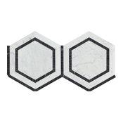 "12""x12"" Porsche Carrara Marble Hexagon Mosaic Tile With Black, Honed, Set of 10"