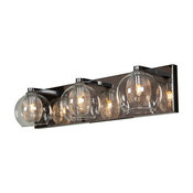 Aeria, 3-Light Metal Foil In Glass Vanity, Halogen, Chrome With Clear