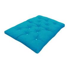 Modern Triple 3-Seater Foam Futon Mattress, Light Blue Cotton, Roll Out Design