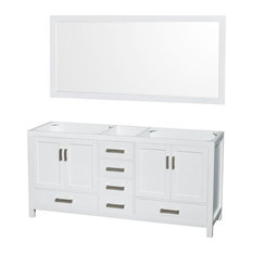 "Double Vanity, No Countertop, No Sinks, White, 70"" Mirror, 71"""