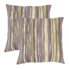 Uchenna Stripes Throw Pillows, Set of 2, Lavender