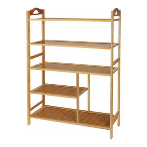 Contemporary Stylish Storage Organiser, Natural Bamboo Wood With Shelves