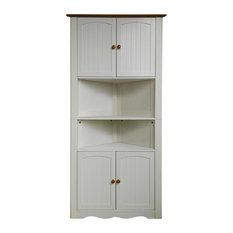 Traditional Corner Storage Cabinet, MDF With 4-Door and 6 Internal Shelves