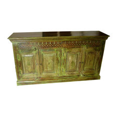 Mogul Interior - Consigned Distressed Wood Green Antique Indian Sideboard - Accent Chests And Cabinets
