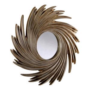 Swirling Silver Mirror, 99x99 cm