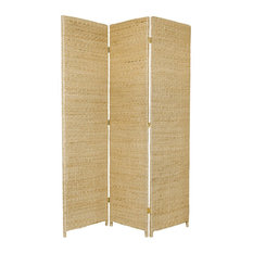 6' Tall Rush Grass Woven Room Divider, 3 Panel, Natural