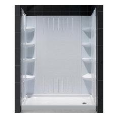 """DreamLine SlimLine 30""""x60"""" Base, Right Hand Drain and Shower Backwall Kit"""