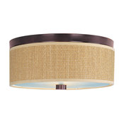 """Elements Drum Shades Two Light Flush Mount, Grass Cloth, 14"""", Oil Rubbed Bronze"""