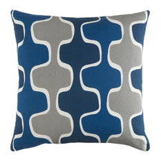 "Modern Navy and Dark Blue and Medium Gray Accent Pillow, 18""x18"""