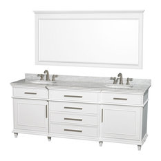 "80"" Double Bathroom Vanity in White With Marble Top, Undermount Sink, Mirror"