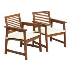 Tioman Teak Hardwood Outdoor Armchair With Cushion, Set Of Two