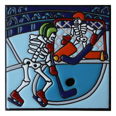 """6""""x6"""" Hockey On Ice Day of the Dead Clay Tile"""
