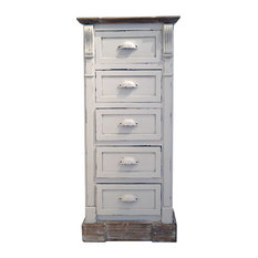 White Shabby Chic Vintage French Style Tall Chest 5-Drawer Bedroom Furniture