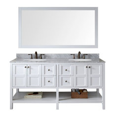 Virtu USA Winterfell 72-inch White Double Sink Vanity Set With Marble Top Round
