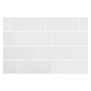 "3""x8"" Matt White Glass Subway Tiles, Set of 6"