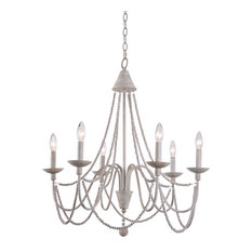 """Kenroy Home 93918 Escapade 6 Light 26-1/2"""" Wide Beaded Chandelier with Strands"""