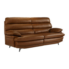 Sofamania   Classic Real Leather Fabric Sofa With Low Profile Frame, Silver  Legs, Camel