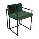Federico Dining Chair, Green Velvet, Black Frame