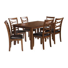 Rubber Wood 7-Piece Extendable Dining Set With Rectangle Table