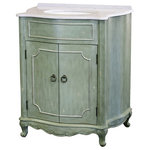 L & K Designs - 32 Inch Small Distressed Bathroom Vanity with Sink, Quartz Top, Green Finish - L & K Designs traditional Natchez vanity recalls the historic and charming Florentine style. The cabinet is framed in fir and stands on stylish, feminine legs. The distressed green finish has beige undertones and silver accent trim. The two doors are adorned with antique burnished hardware, and they open to reveal removable shelf space. The facet spread is 8 inches. The top is 1.6-centimenter white and grey quartz with a white oval undermount porcelain bowl and a 1-inch attached backsplash. The Natchez vanity measures 32 inches wide, 22 inches deep, and 36 inches tall.