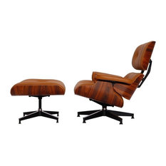 Aniline Leather Lounge Chair and Ottoman, Seat: Terracotta, Base: Palisander