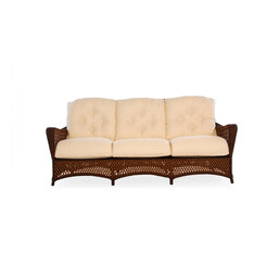 Grand Traverse Sofa, Carmel With Windward Stripe Seaside Fabric