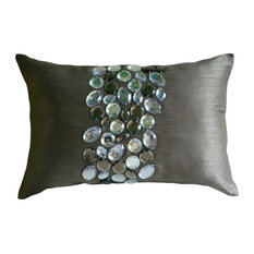 "Crystals Gray Art Silk 12""x20"" Lumbar Pillow Cover, Crystal Delight"