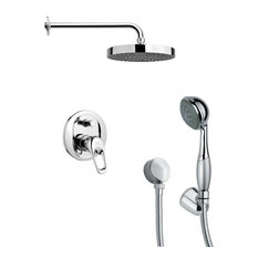 "Chrome Shower System With 8"" Rain Shower Head and Hand Shower"